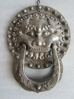 Original Antique 19th C. Chinese Qing Dynasty Door Knocker / Handle Lion Dragon