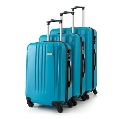 3pc Aqua Luggage Suitcase ABS Trolley Carry On Bag Hard Case Lightweight Set