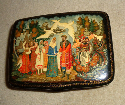 Vintage Late Century Russian Lacquer Box  Artist Signed