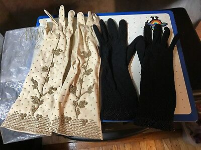 Lot Of 2 Antique Victorian Women's Gloves -A-92