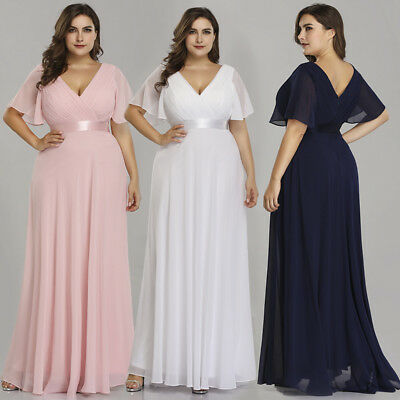 Ever-Pretty US Plus Size Long V-neck Bridesmaid Dresses Pink Wedding Gowns 09890