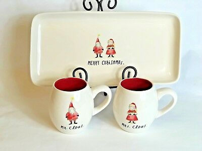 Rae Dunn Mr Mrs Claus Cups Mugs Merry Christmas Platter Gift Set