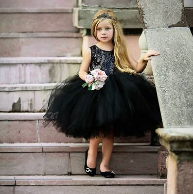 Toddler Baby Girl Princess Bow Sequin Tulle Tutu Party Wedding Dress Christening
