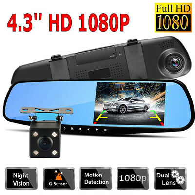 1080P Dual Lens Car 4.3'' Auto DVR Mirror Dash Cam Recorder Rear View Camera Kit