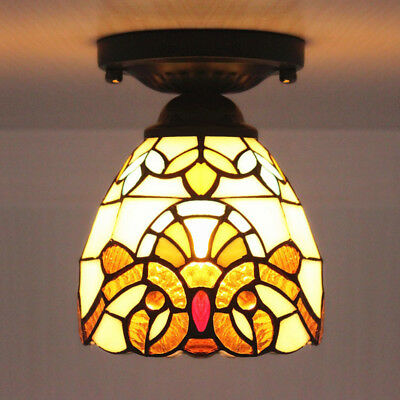Tiffany Style Ceiling Lamp Down Light Stained Glass Baroque Semi-Flush Mount