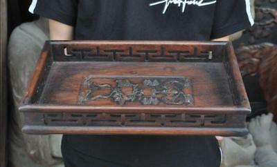 Old Chinese Huanghuali Wood Royal Pomegranate Food Tea Dish Plate Tray Salver