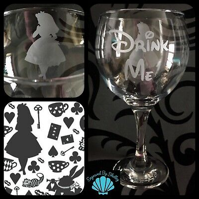 Alice In Wonderland Gin Tonic Balloon Glass Personalised Disney Christmas Gift