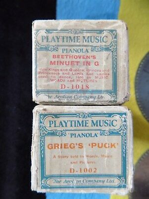Pianola Rolls x 2 RARE Illustrated Childrens rolls x2 by Grieg & Beethoven