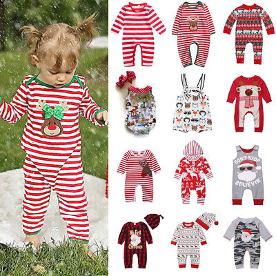 Newborn Baby Boys Girls Romper Bodysuit Jumpsuit Christmas Outfits Clothes