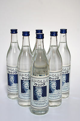 6 Flaschen Ouzo Apollo 37,5% Vol., 0,7 Ltr.