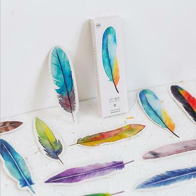 30pcs/Pack Colorful Feather Bookmark Paper Message card Office School Stationery