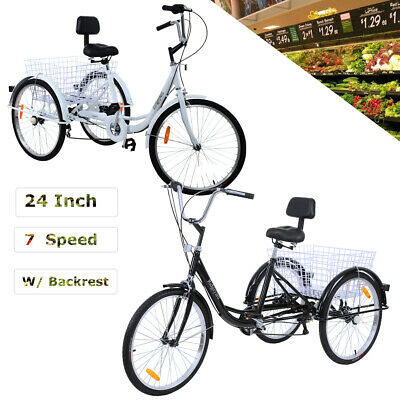 White/Black 3 Wheel Tricycle Bicycle Trike Bike With Basket Leisure Travel Adult