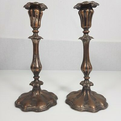 Antique Pair Of Sheffield Plate weighted Candlesticks 25cm High Heavy Wear