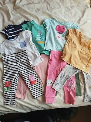 Girls next / john lewis / M&S childrens tshirts and leggings 9-12m & 12-18m