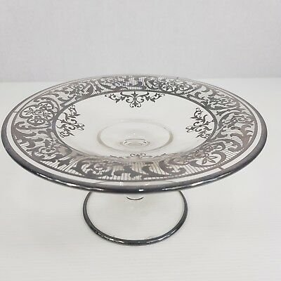 Vintage Silver / Silvered Overlay Glass Tazza 10cm High X 19.6cm Diameter