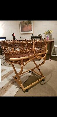 Antique Moses Basket Bassinet on Stand with wheels