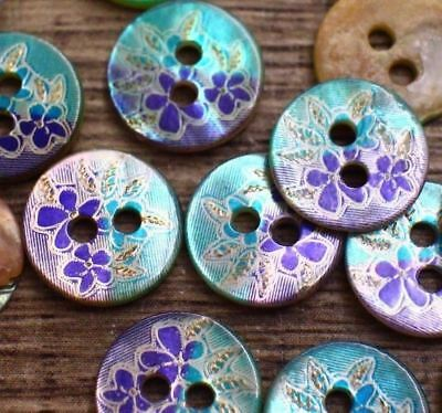 J2 10pcs 16L 10mm Japan Natural Real Pearl Shell Button Antique Engrave Flower