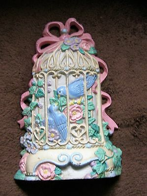 Vintage Cast Iron Doorstop Birds in Cage - Midwest Importers - Made in Taiwan