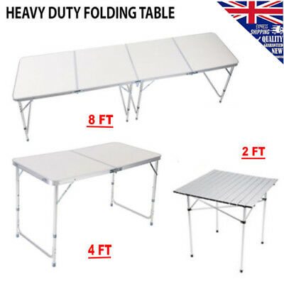 2/4/8FT Portable Outdoor Camping Picnic Folding Tables Aluminum BBQ Garden Party