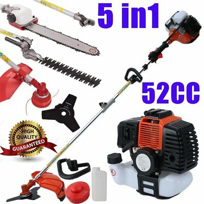 52cc Multi Function 5 in 1 Garden Tool - Brush Cutter,Grass Trimmer,Chainsaw RB