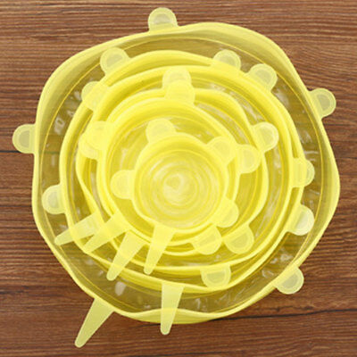 C8C4 6pcs/Set Reusable Silicone Refrigerator Food Bowl Seal Cover Stretch Lid 4