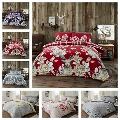 Christmas Bedding Set Flannel Laura Stag Duvet Quilt Cover 100% Brushed Cotton