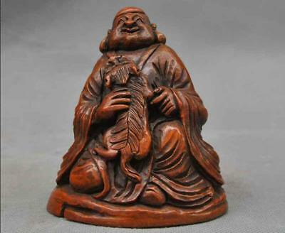 old chinese buddhism Boxwood wood foo dog lion Lohan Arhat buddha monk statue A