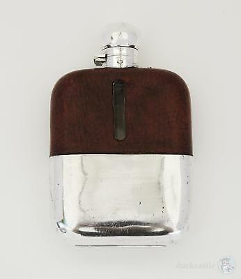Superb DUNHILL SILVER PLATED LEATHER Covered HIP FLASK by James Dixon c1920