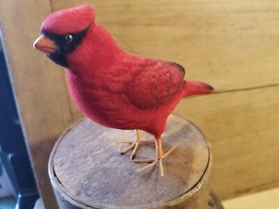 Neat Old Vintage Red Felt Flocked Cardinal Bird Norleans Japan Fun At Christmas