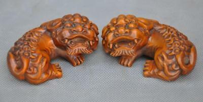 "3"" Rare Old Chinese Boxwood wood Hand-carved fengshui foo dog lion statue pair"