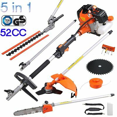 52cc 5 in 1 Petrol Hedge Trimmer Chainsaw Brushcutter Garden Multi Tool RB