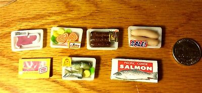 Kitchen Set RARE HTF Packaged Food Dollhouse Meat Accessories 7pc 1:12 Miniature