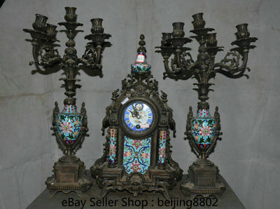 "19.6"" Old Cloisonne Enamel Bronze Palace mechanical Table Clock Candlestick Set"