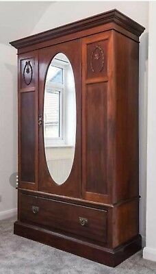 Antique Solid Hardwood Mirrored Wardrobe with Door and Drawer