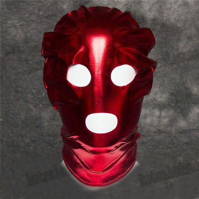 Spandex With Latex Red Full Head Hood Mask Open Mouth & Eyes 3 Holes