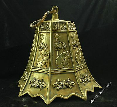 "14"" Chinese Fengshui Pure Brass Lotus Leaf Bell Pendulum Zhong Statue Sculpture"