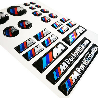 24SeT ABS M Tech Powers Badge Interior & Wheel Sticker Emblems Decal For All BMW