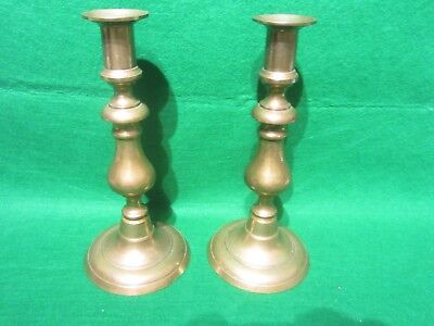 """Pair Antique Solid Brass Push Up Candlesticks,  8 3/4"""" tall"""