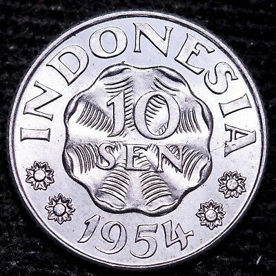 Uncirculated 1954 Indonesia 10 Sen Coin Free S/H To The USA