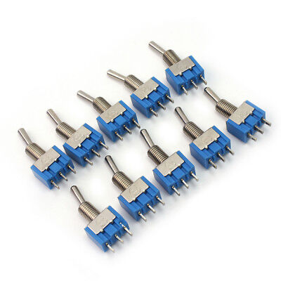 10 Pcs Set Blue MTS-102 3-Pin 2 Position 6A 125VAC Mini SPDT Toggle Switches