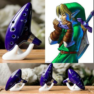 12 Hole Ocarina Ceramic Alto C Legend of Zelda Time Flute Blue Tuned InstrumenKu
