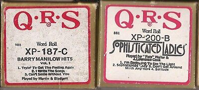 Pianola Rolls x 2 QRS Barry Manilow + Fats Waller a total of  7 tunes + WORDS