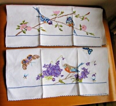 Vintage Huck LINEN Fine X Stitch Embroidered BIRDS TOWEL LOT Pair 2 Beautiful