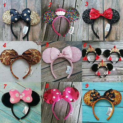 New Disney Parks Sequins Minnie Mouse Ears Mickey Party Festival Cos Headband