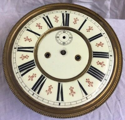 Antique Double Weight Vienna wall clock with frame and gong - Spares Or Repairs