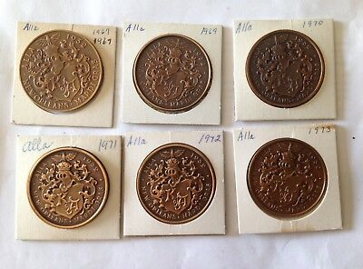 Alla Lot Of Six Antique Bronze Mardi Gras Doubloons Coins Tokens