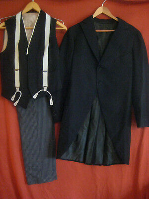 MORNING SUIT antique 1916 sz S 28X32 wool tux tails striped pants button fly