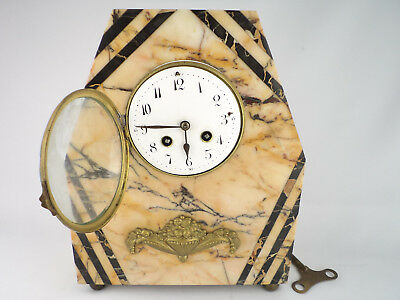 292 OLD FIREPLACE MANTEL CLOCK MARBLE  FRANCE 1920s beauty home decor collection