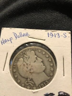 1913 S Barber Half Dollar    VERY GOOD Nice Coin Free Shipping Make Offer