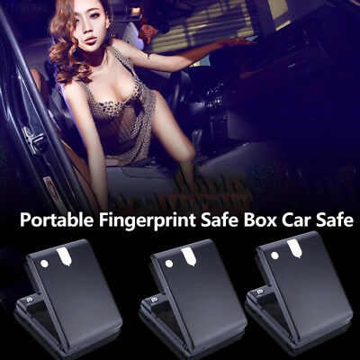 6E27 Fingerprint Safe Box Portable Car Safe Box Handgun Valuables Fingerprint Lo
